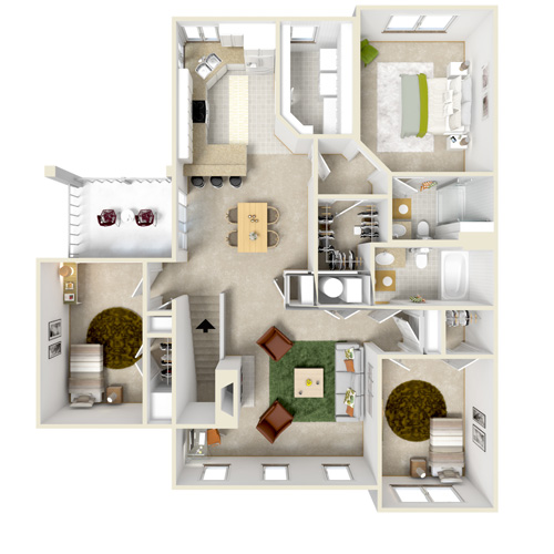 upper A three bedroom
